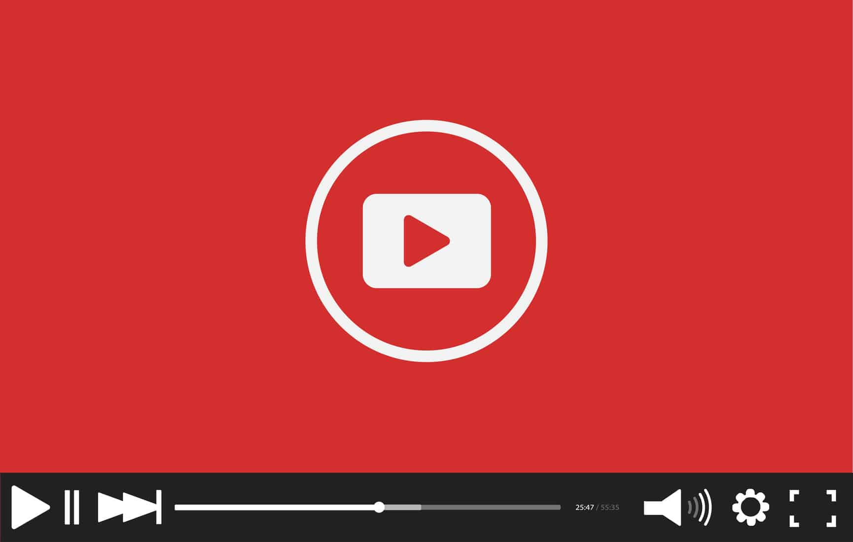 Red flat Video player bar template for your design  Trendy Minim